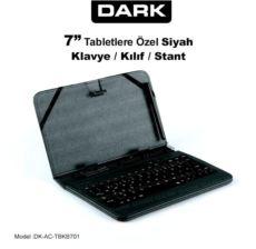 DARK 7- İnç Tablet Uyumlu USB Klavyeli Ajanda Tipi Deri Kılıf ve Stant