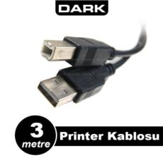 DARK 3 Metre USB 2.0 Printer ve Data Kablosu