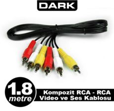 DARK 1.8 Metre Kompozit RCA - RCA Video ve Ses Kablosu