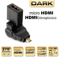 DARK 270 Derece Dönebilen HDMI Dişi - Micro HDMI Erkek Dönüştürücü Soket