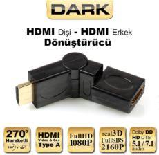 DARK 270 Derece Dönebilen HDMI Erkek - HDMI Dişi Çevirici Dirsek