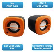 FLAXES FLX-024T USB 6 WATT 3W*2 1+1 SİYAH TURUNCU SPEAKER