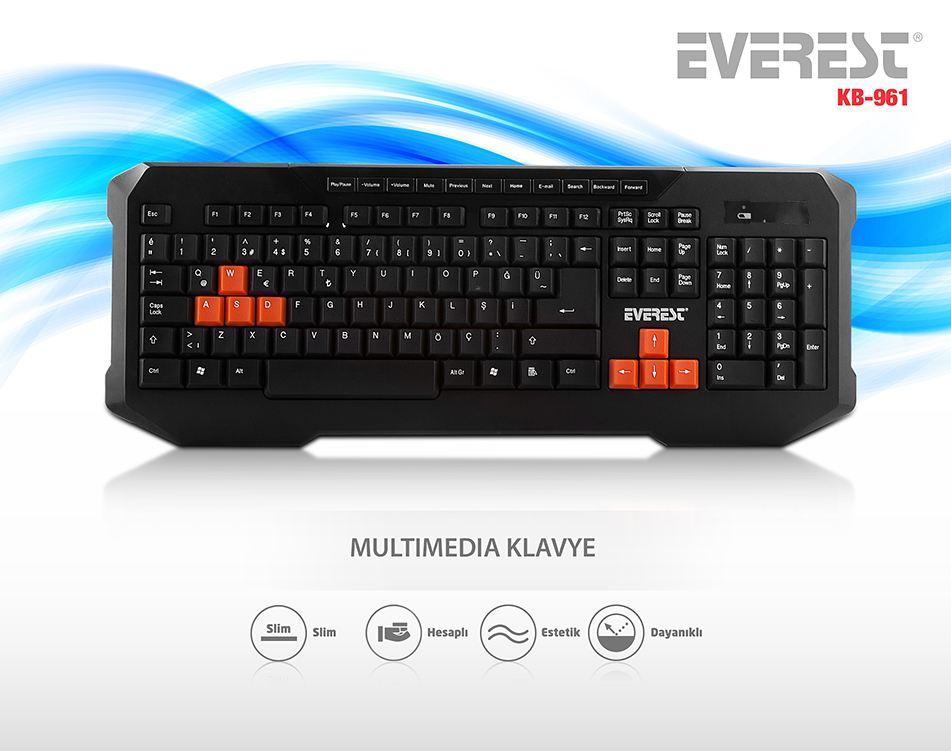 EVEREST KB-961 Kablolu, USB, Q, TR MM Oyuncu Klavye, Siyah
