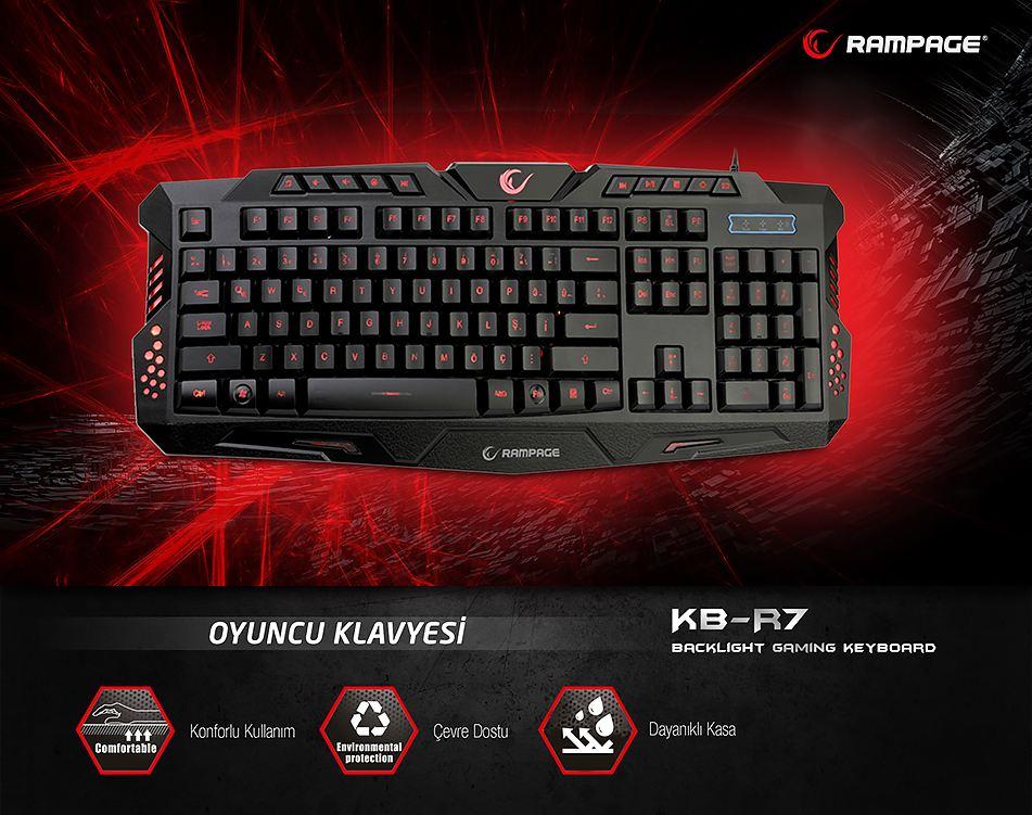 EVEREST KB-R7 Rampage KB-R7 Siyah USB Işıklandırmalı Q Oyuncu Klavyesi