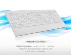 EVEREST KM-3850 Beyaz Q Multimedia Klavye + Mouse Set