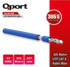 QPORT Q-CAT305M 305 METRE UTP 23AWG 0,57MM MAVİ NETWORK AĞ KABLOSU