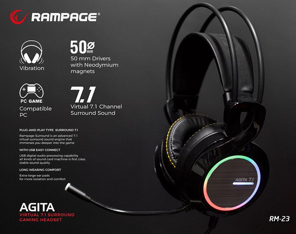 RAMPAGE RM-23 HDS 7.1 RGB LED Kulak Üstü Titreşimli Kulaklık