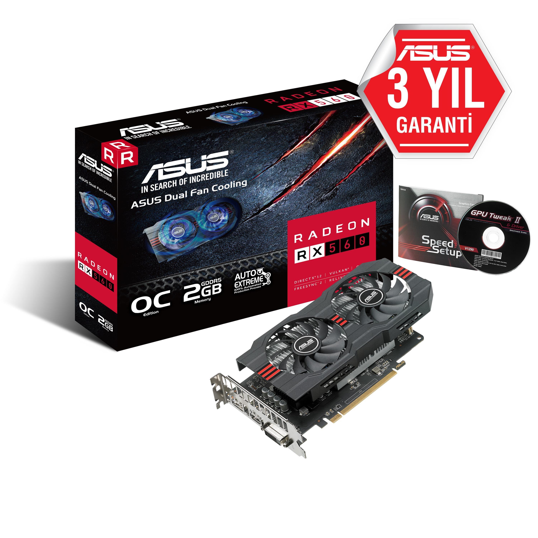 ASUS RX560 2G 128b GDDR5 DVID-HDMI-DP AMD EKRAN KARTI