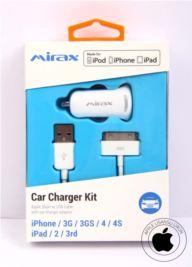 MIRAX iPhone 4-4S araç şarj kiti, iPad&iPod uyumlu, Orijinal Apple Lisanslı