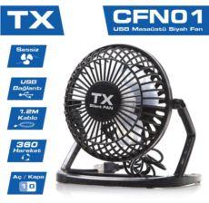 TX Masaüstü mini USB FAN 360 derece hareketli siyah TXACFN01