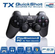 TX Pc-PS3 Uyumlu Quickshot Dijital ve Analog Titreşimli Gamepad TXACGPAD02