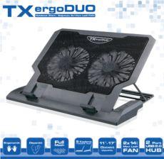 TX 11--17- Uyumlu 14cm Çift Fanlı 2xUSB 5 Kademe Yüksek Laptop Soğutucu TXACNBERGDUO